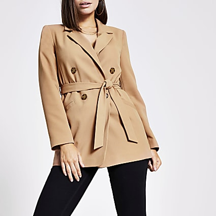 Beige double breasted belted blazer