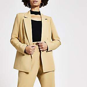 Beige double breasted blazer