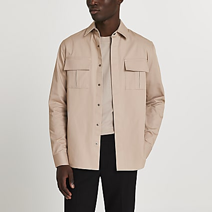 Beige double chest pocket long sleeve shirt