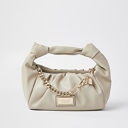Beige double knot chain ruched bag