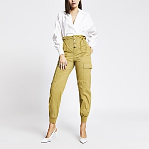 Beige drawstring waist cargo trousers