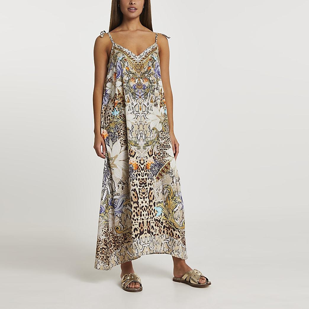 Beige embellished maxi slip dress