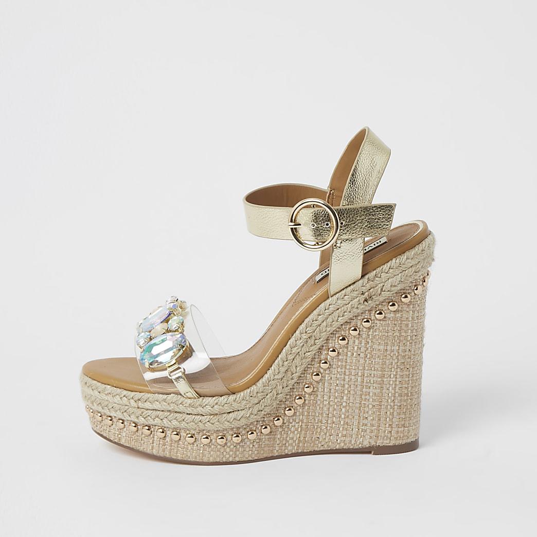 Beige embellished perspex wedge sandals