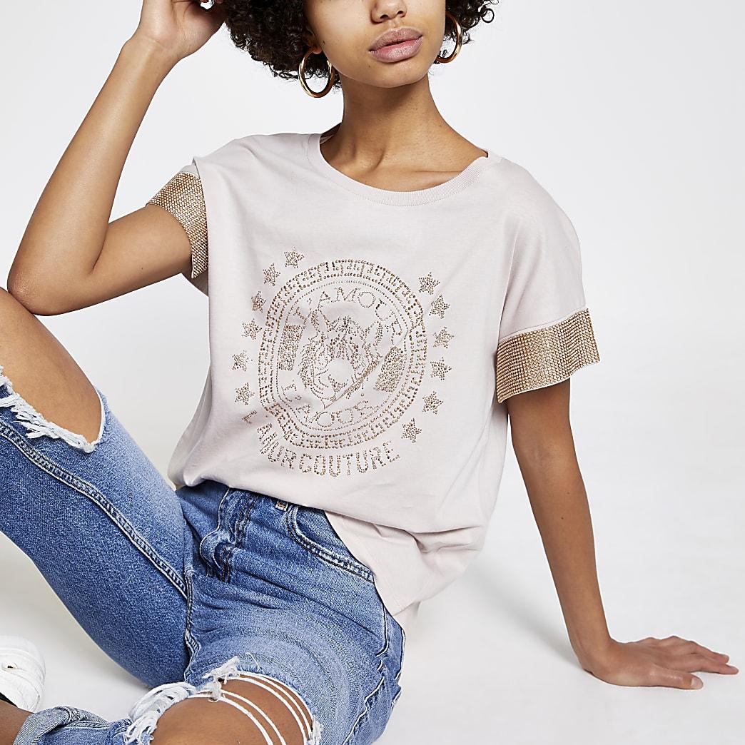 Beige embellished sleeve T-shirt