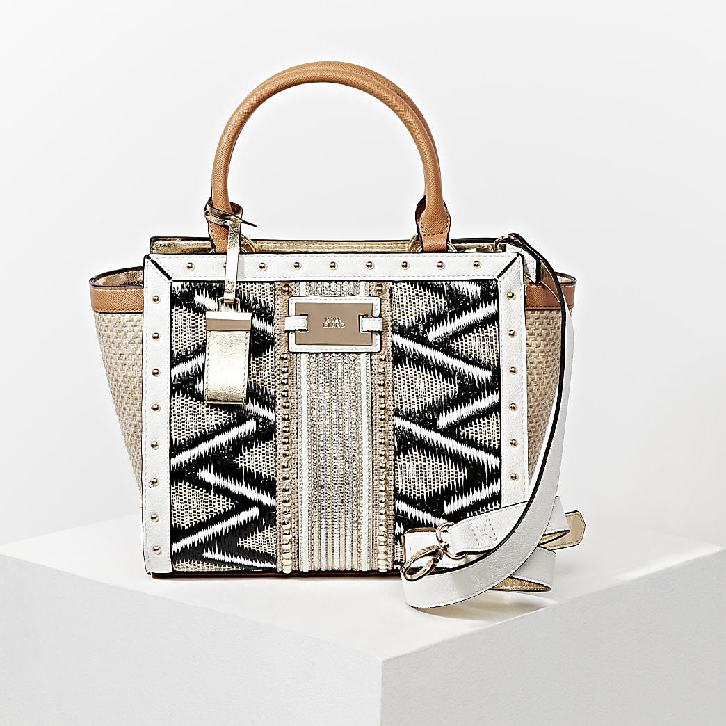Beige embellished weave mix wing tote Handbag