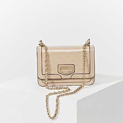Beige embossed satchel bag