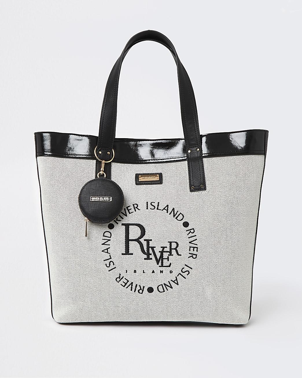 Beige embroidered canvas shopper bag