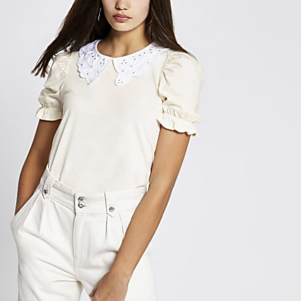 Beige embroidered collar puff sleeve top