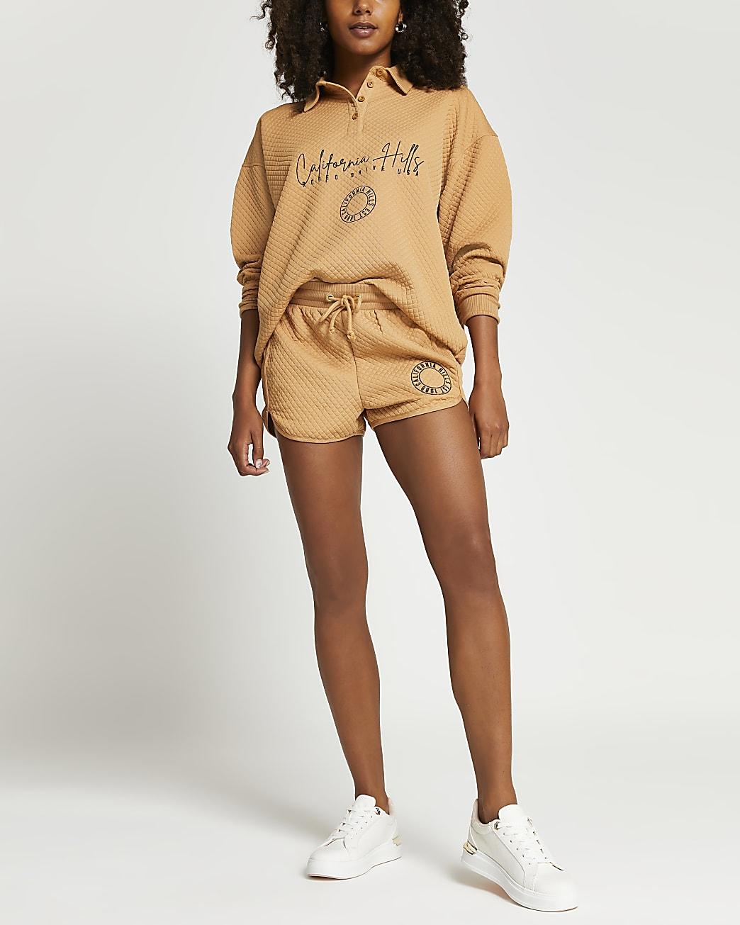 Beige embroidered quilted sweatshirt