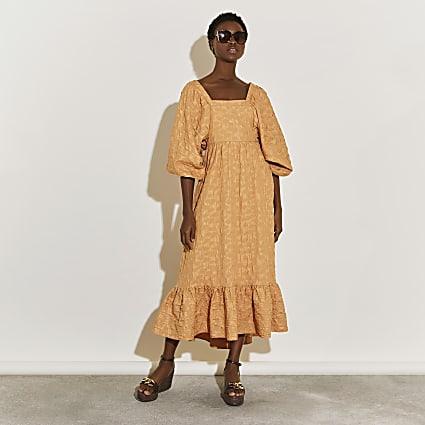 Beige exaggerated sleeve shirred maxi dress