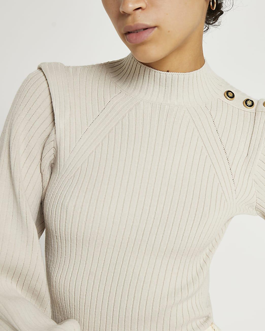Beige extended shoulder knit jumper