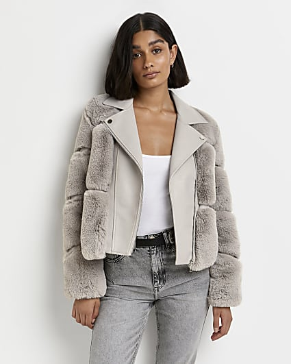 Beige faux fur biker jacket