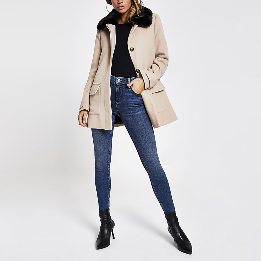 Beige faux fur collar swing coat