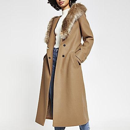 Beige faux fur hooded robe coat