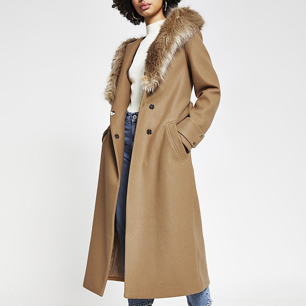 Beige faux fur hooded robe coat