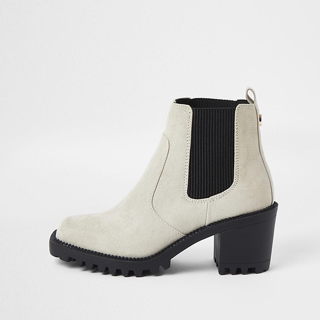 Beige faux leather block heel boots
