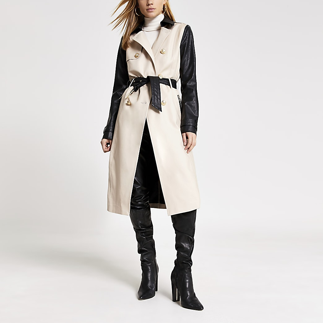Beige faux leather blocked belted trench coat