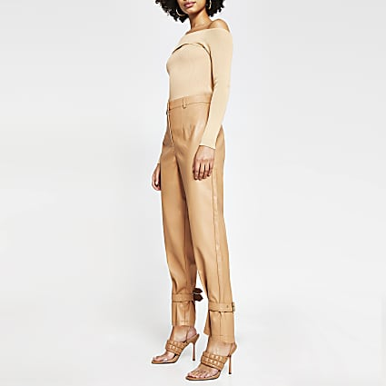 Beige faux leather cuff high waist trousers