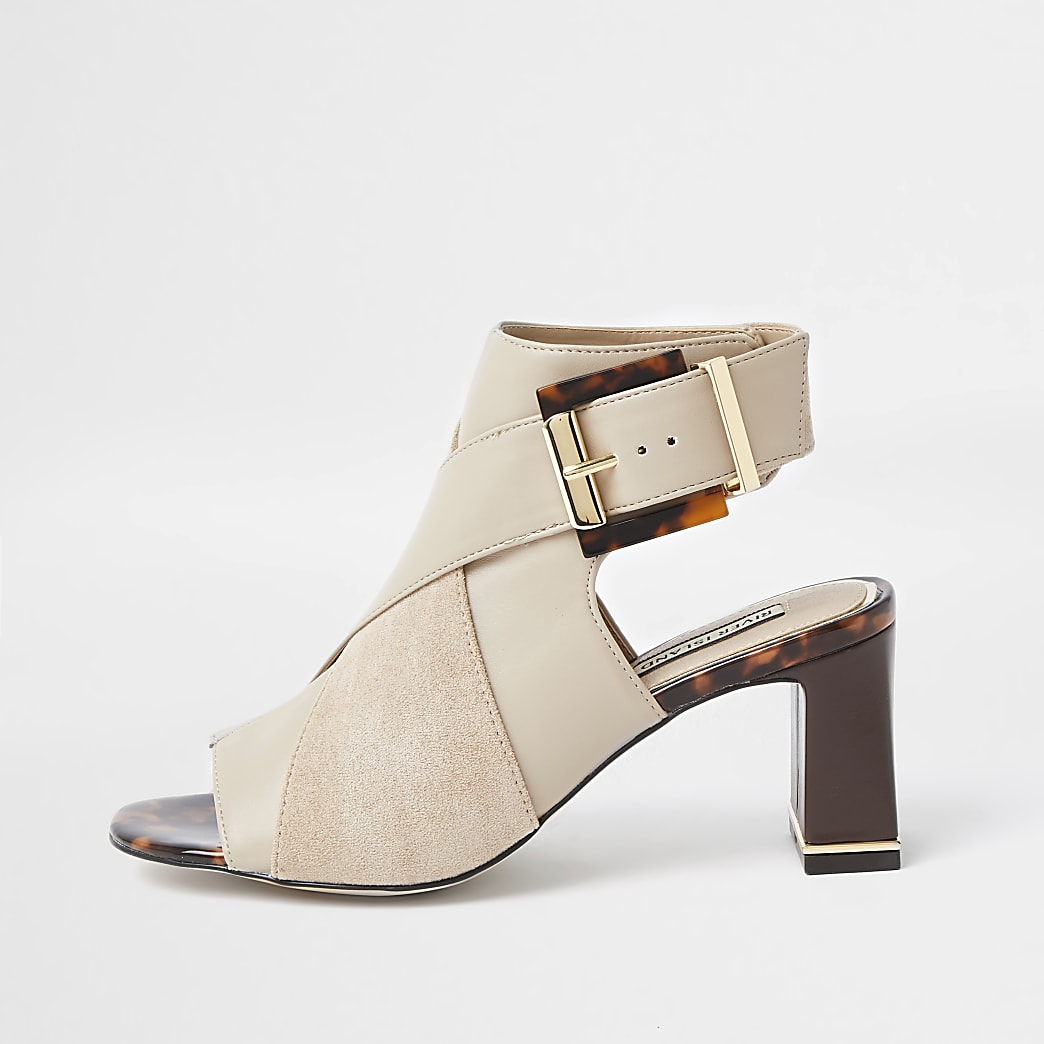 Beige faux leather peep toe shoe boot