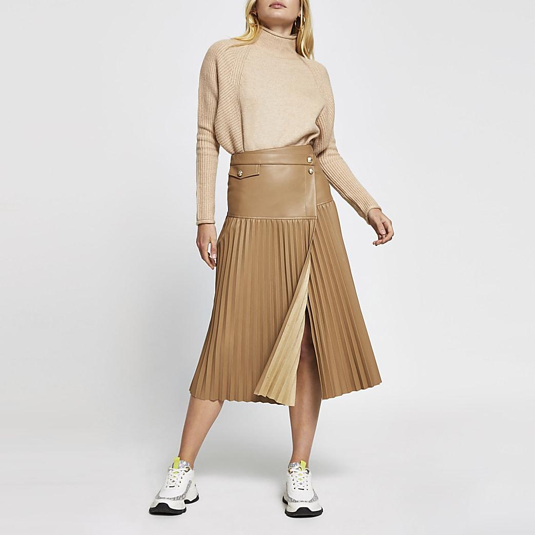 Beige faux leather pleated midi skirt