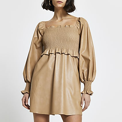 Beige faux leather shirred mini dress
