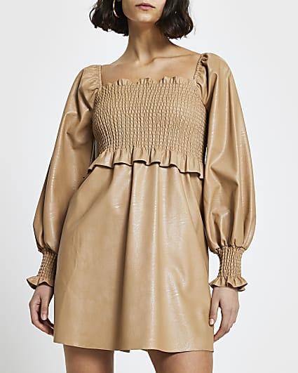 Beige faux leather shirred mini dress