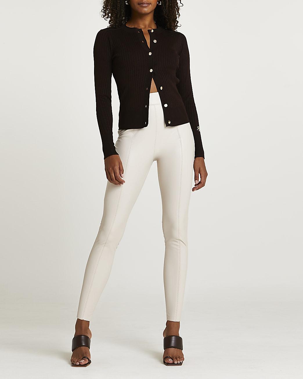 Beige faux leather skinny trousers
