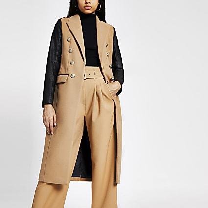 Beige faux leather sleeve longline coat