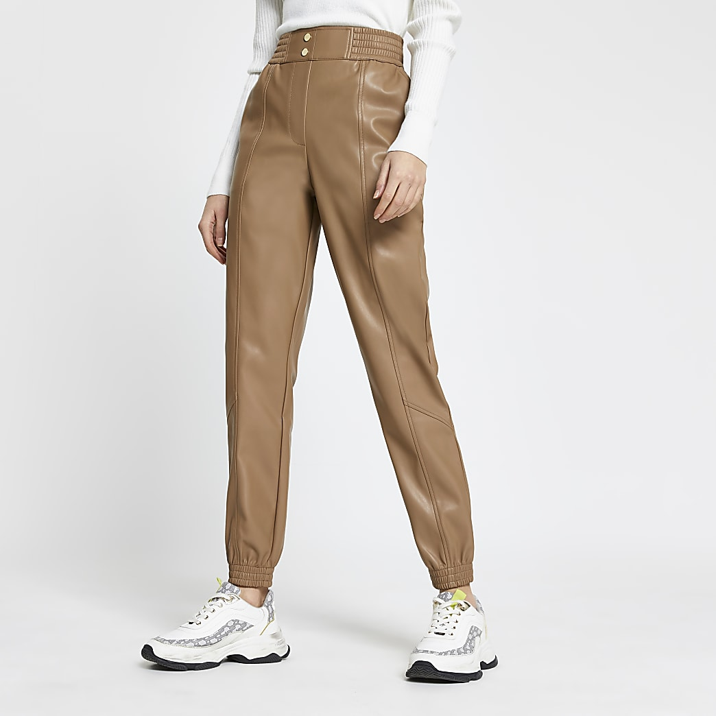 Beige faux leather slim leg joggers