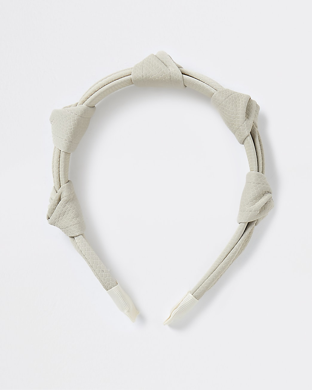 Beige faux leather snake knotted Alice band