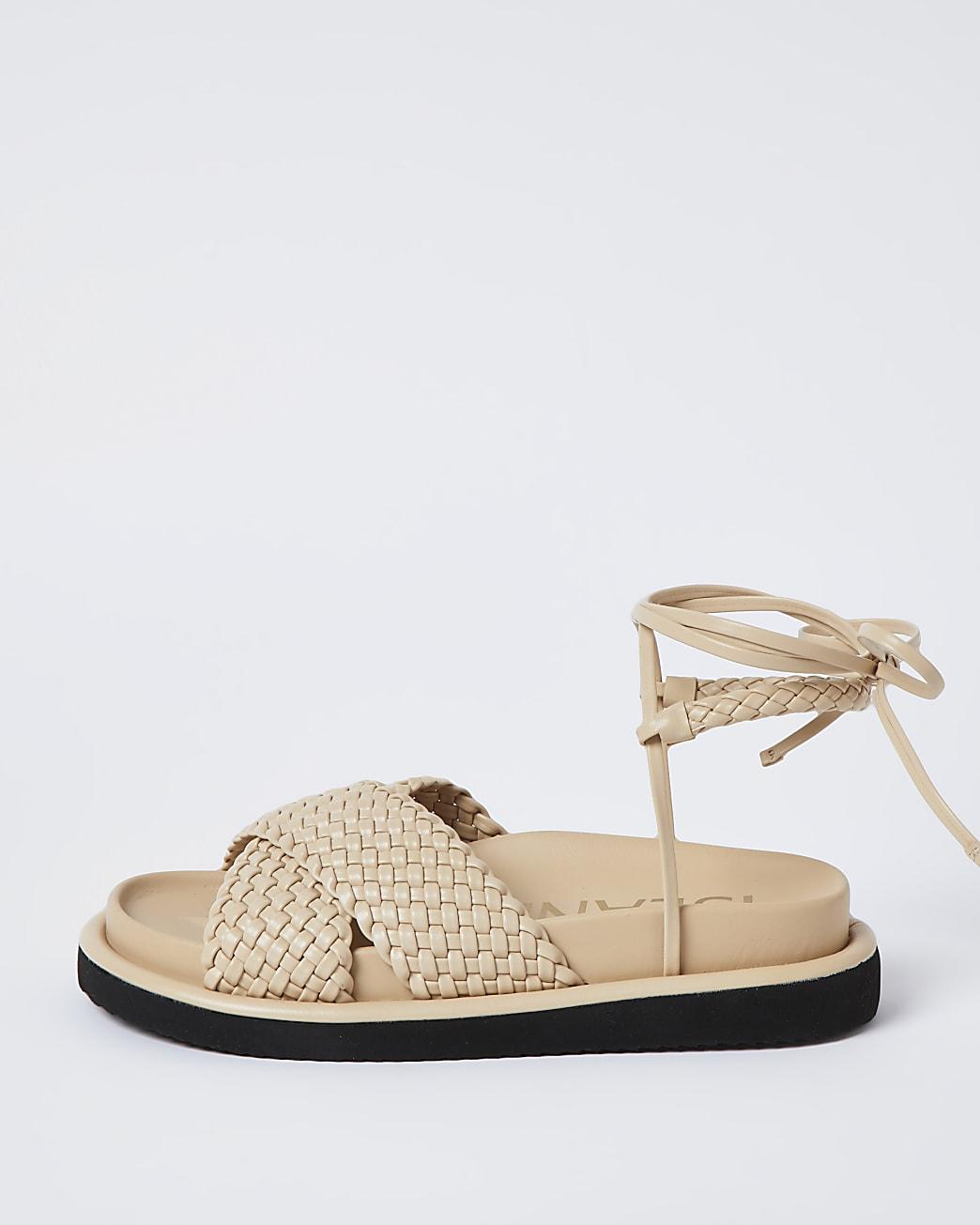 Beige faux leather weave sandals