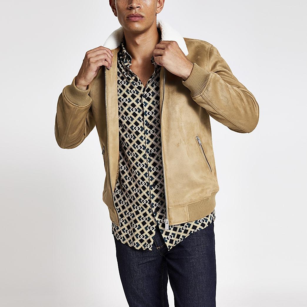 Beige faux suede borg collar jacket | River Island