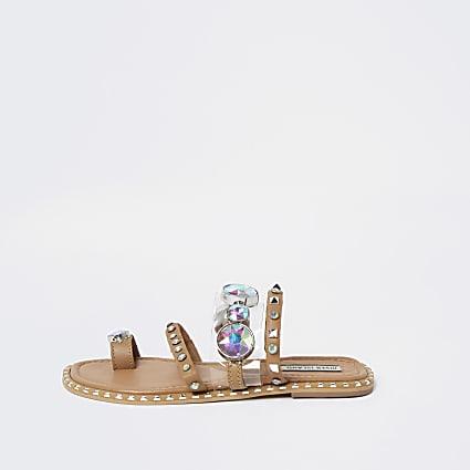 Beige flat toe loop sandal