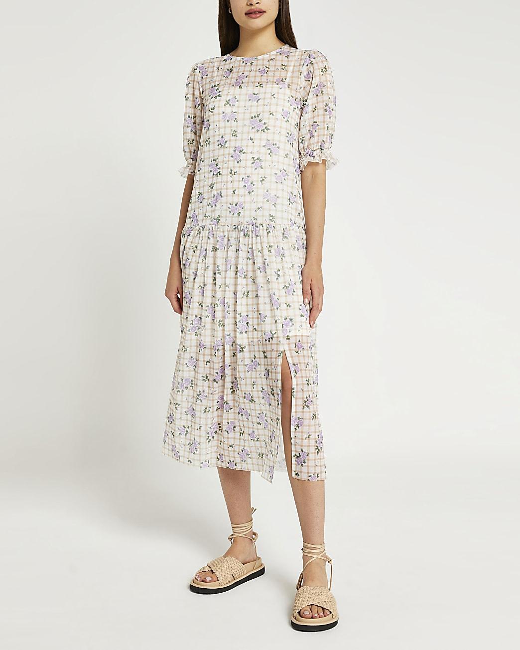 Beige floral check midi dress