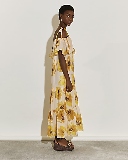 Beige floral print bardot maxi dress