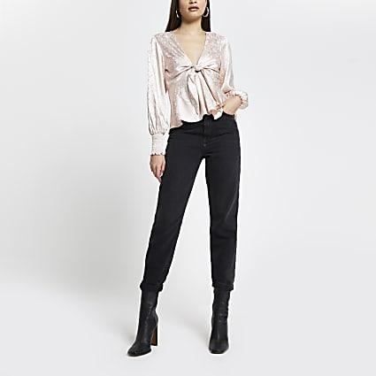 Beige floral print tie front blouse