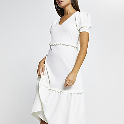 Beige frill hem short sleeve midi dress
