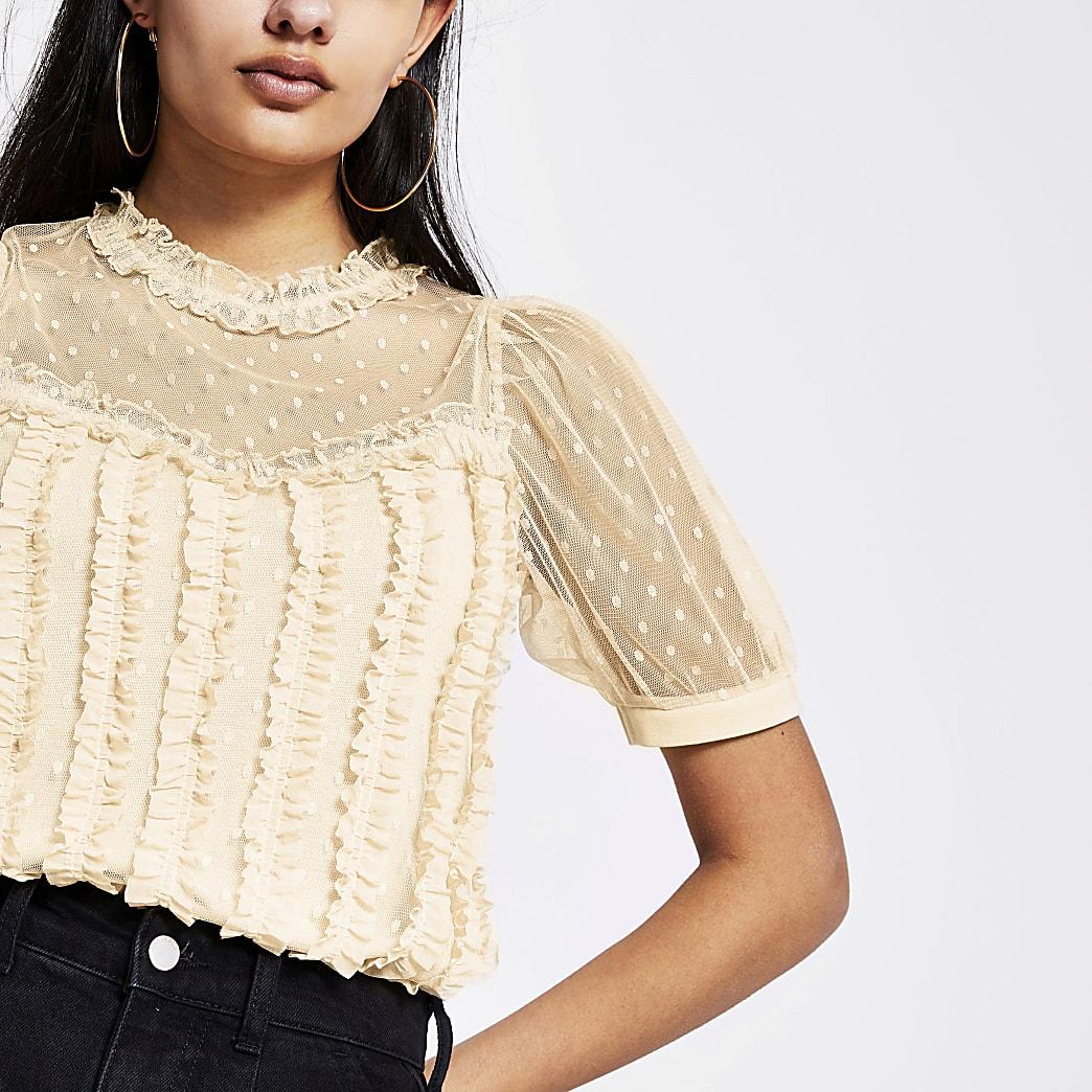Beige mesh T-shirt met ruches en korte mouwen
