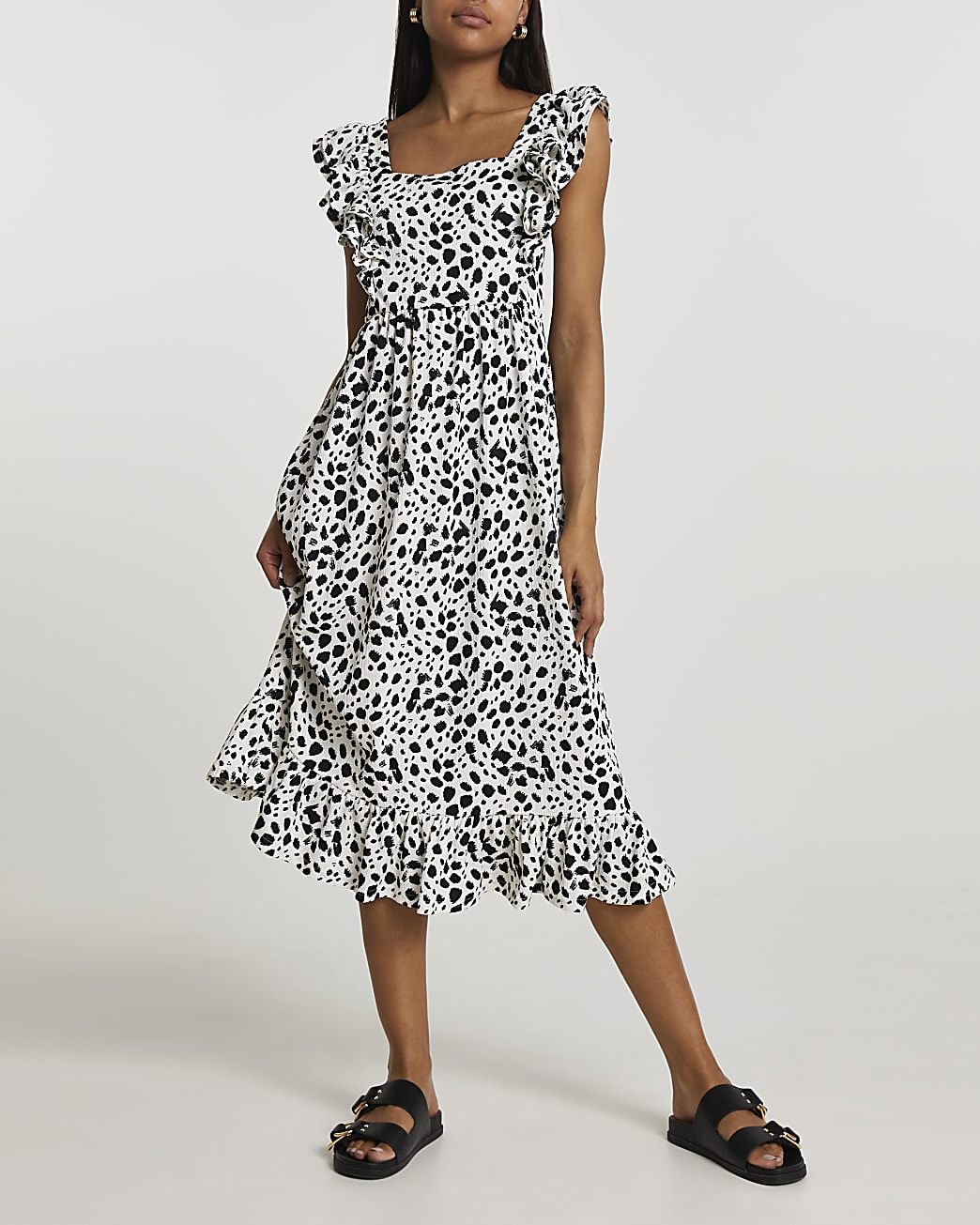 Beige frill sleeve animal dress