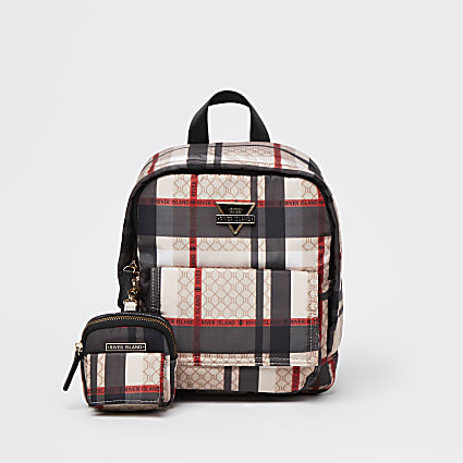 Beige front flap checked backpack & pouch