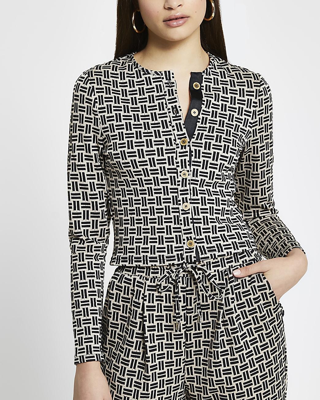 Beige geometric long sleeve fitted cardigan