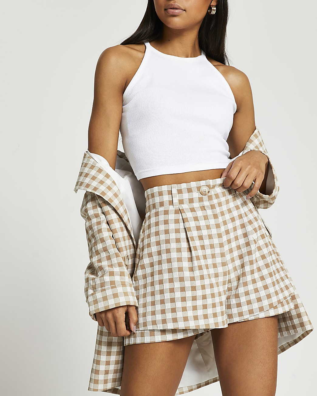 Beige gingham double layer shorts