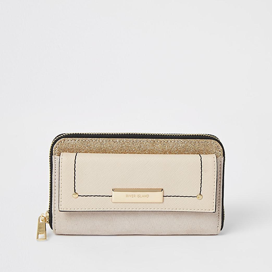 Portefeuille beige zippé à paillettes avec poche sur le devant