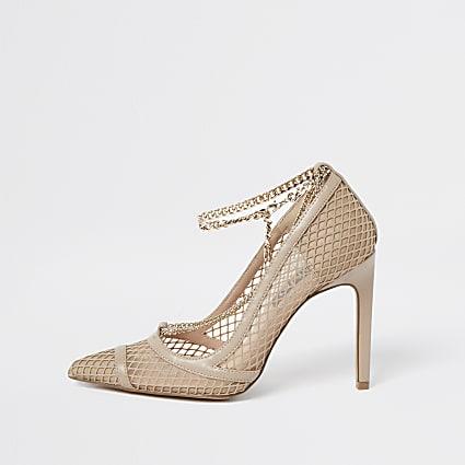 Beige gold chain mesh court heels