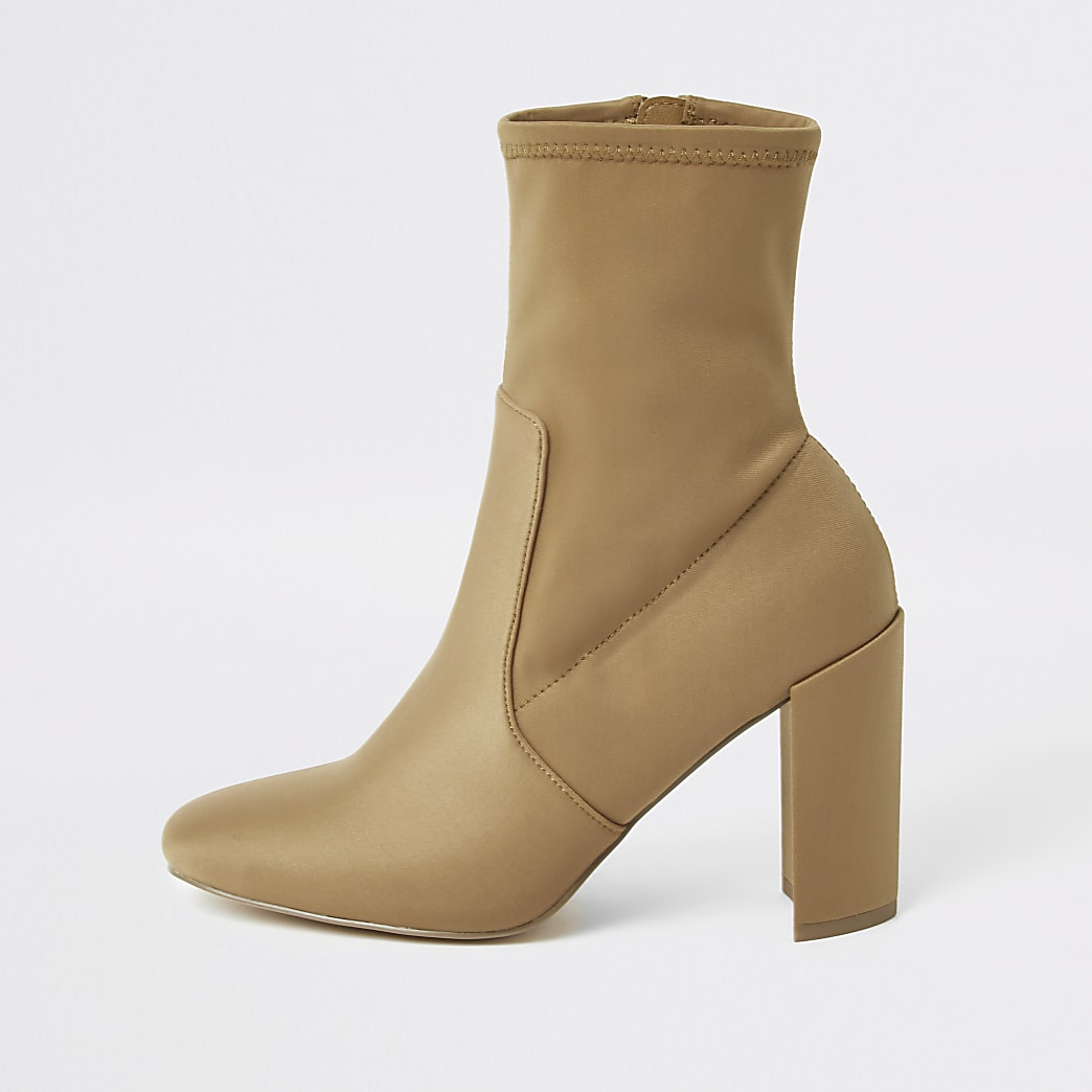 Beige heeled sock boots