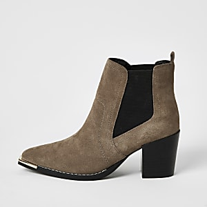 Beige heeled western ankle boots