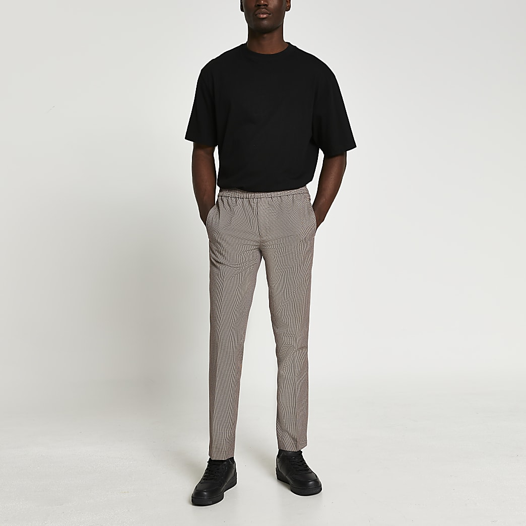 Beige heritage check slim fit jogger trousers