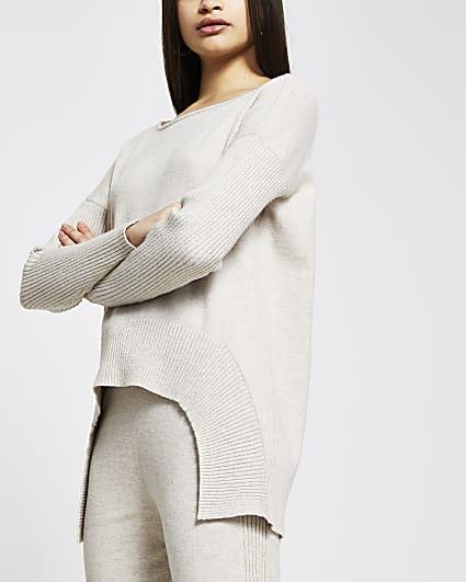 Beige high low hem knitted jumper