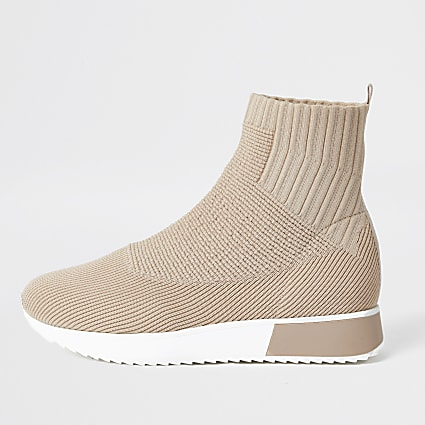 Beige high top sock runner trainers