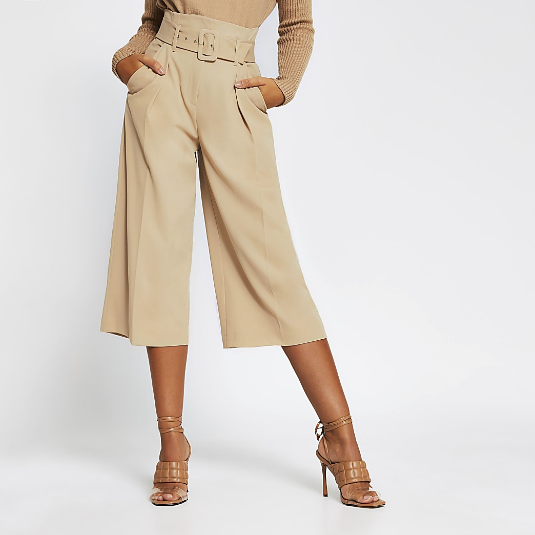 Beige high waist belted culotte trousers